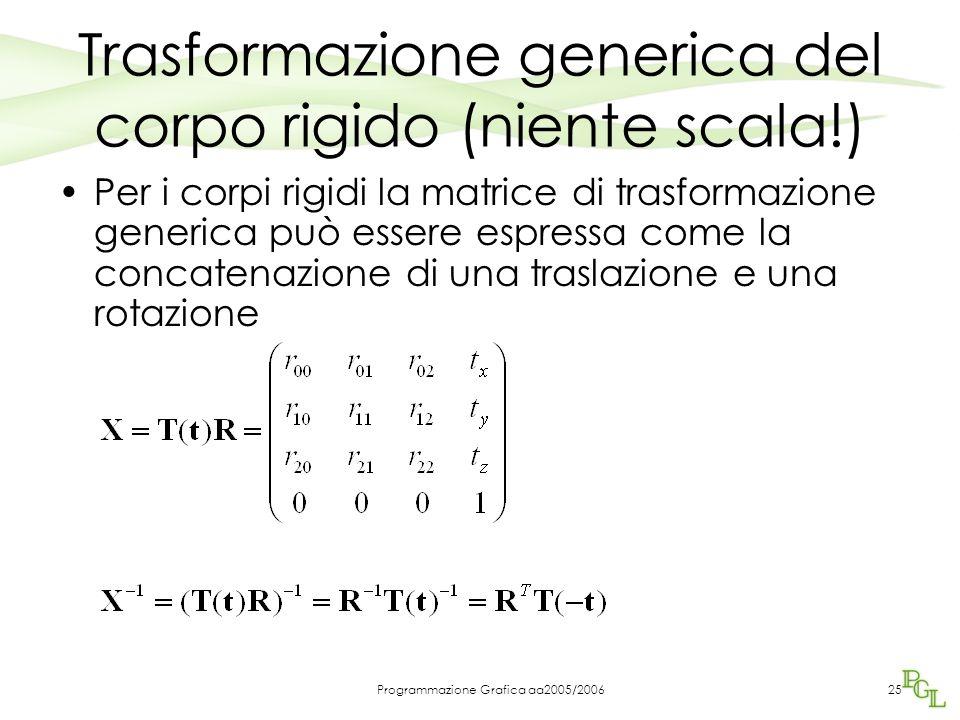 Programmazione Grafica aa2005/200625 Trasformazione generica del corpo rigido (niente scala!) Per i corpi rigidi la matrice di trasformazione generica può essere espressa come la concatenazione di una traslazione e una rotazione