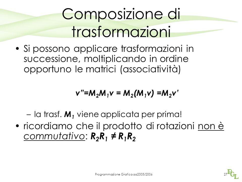 Programmazione Grafica aa2005/200627 Composizione di trasformazioni Si possono applicare trasformazioni in successione, moltiplicando in ordine opportuno le matrici (associatività) v =M 2 M 1 v = M 2 (M 1 v) =M 2 v' –la trasf.