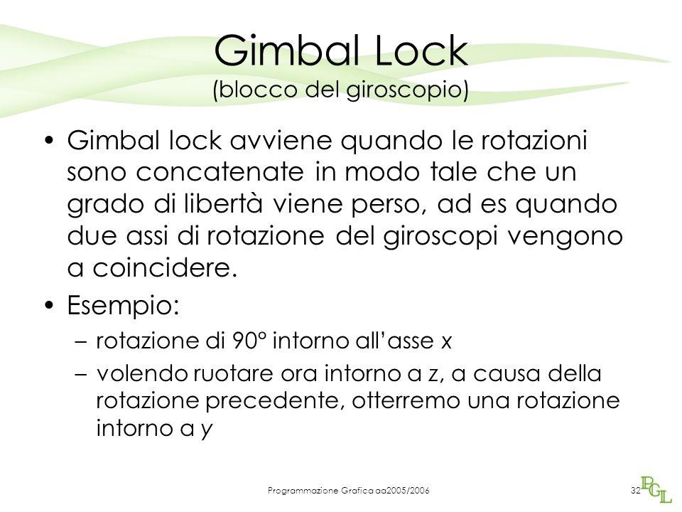 Programmazione Grafica aa2005/200632 Gimbal Lock (blocco del giroscopio) Gimbal lock avviene quando le rotazioni sono concatenate in modo tale che un grado di libertà viene perso, ad es quando due assi di rotazione del giroscopi vengono a coincidere.