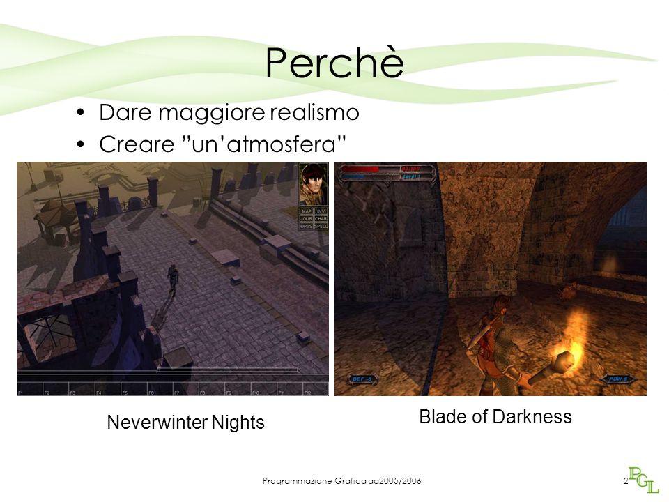 Programmazione Grafica aa2005/20062 Perchè Dare maggiore realismo Creare un'atmosfera Neverwinter Nights Blade of Darkness