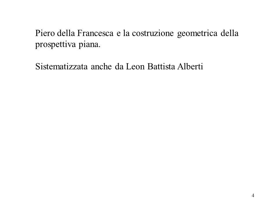 4 Piero della Francesca e la costruzione geometrica della prospettiva piana. Sistematizzata anche da Leon Battista Alberti
