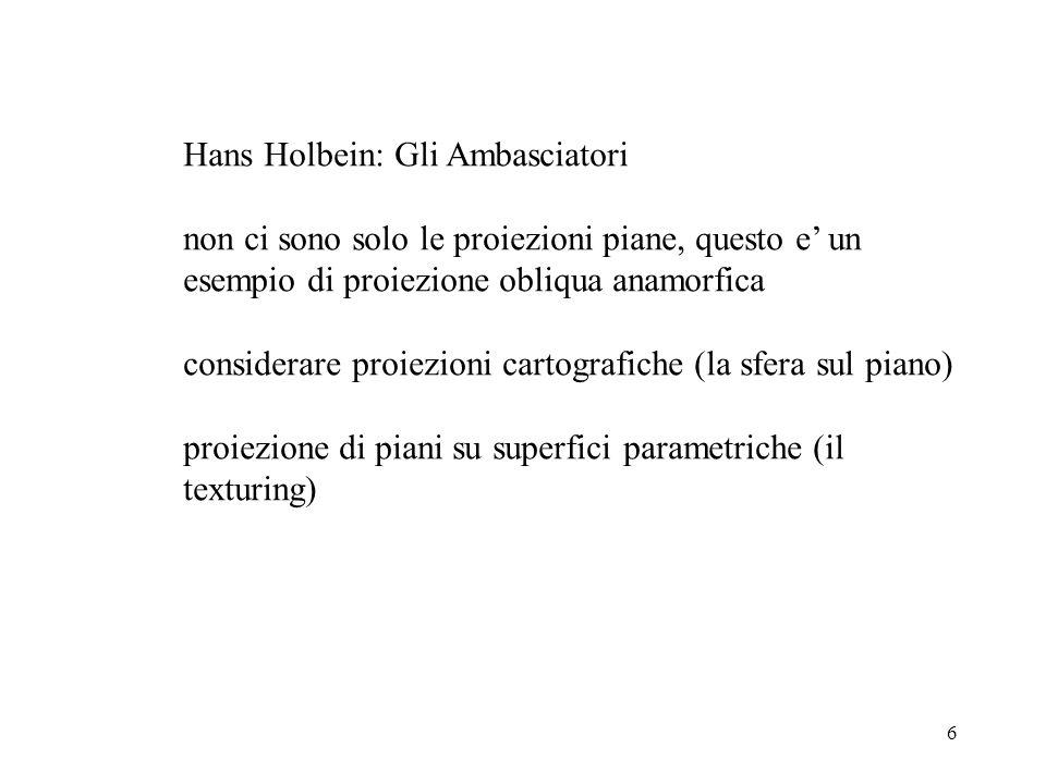 6 Hans Holbein: Gli Ambasciatori non ci sono solo le proiezioni piane, questo e' un esempio di proiezione obliqua anamorfica considerare proiezioni ca