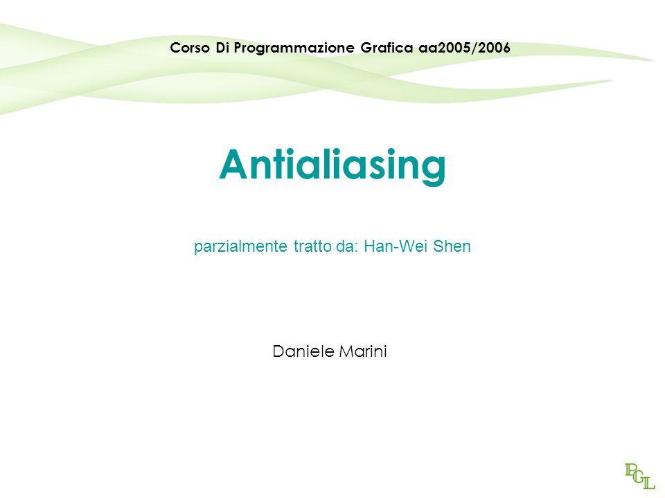 Antialiasing parzialmente tratto da: Han-Wei Shen Daniele Marini Corso Di Programmazione Grafica aa2005/2006