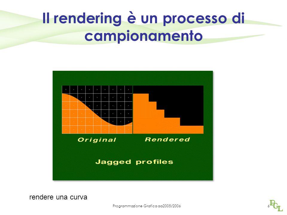 Programmazione Grafica aa2005/20066 Il rendering è un processo di campionamento rendere una curva