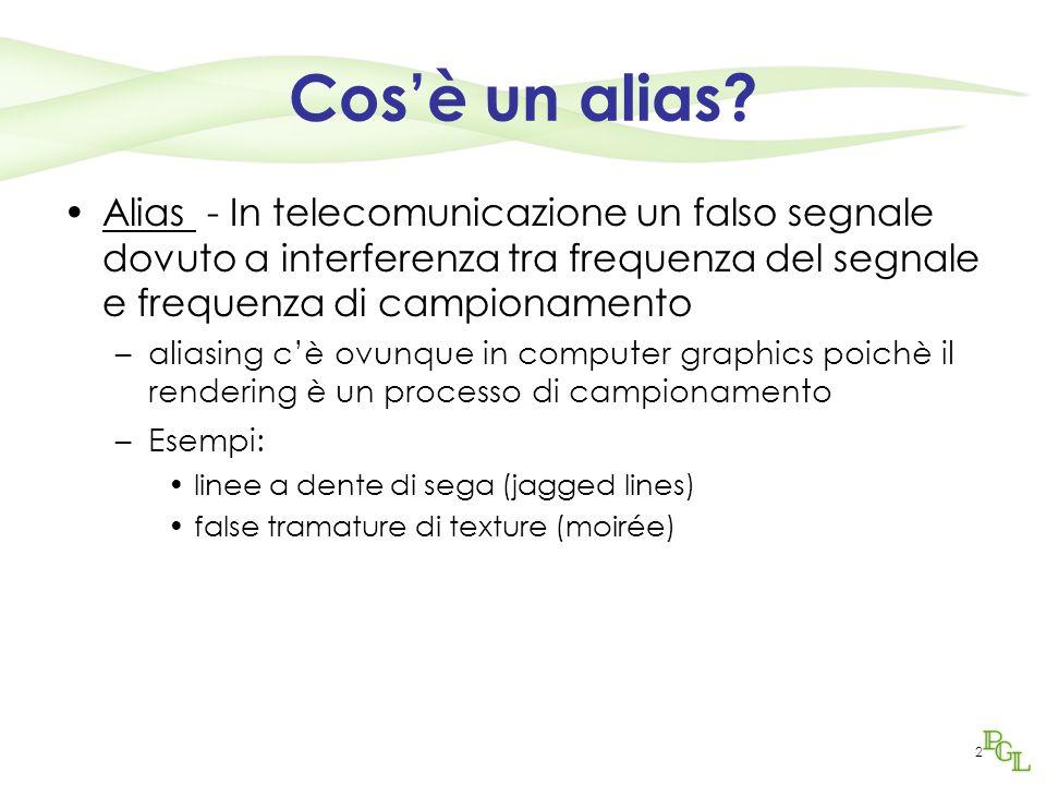 2 Cos'è un alias? Alias - In telecomunicazione un falso segnale dovuto a interferenza tra frequenza del segnale e frequenza di campionamento –aliasing