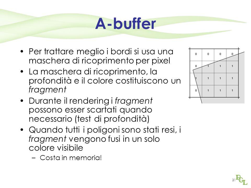 31 A-buffer Per trattare meglio i bordi si usa una maschera di ricoprimento per pixel La maschera di ricoprimento, la profondità e il colore costituis