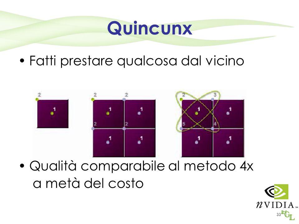 33 Quincunx Fatti prestare qualcosa dal vicino Qualità comparabile al metodo 4x a metà del costo