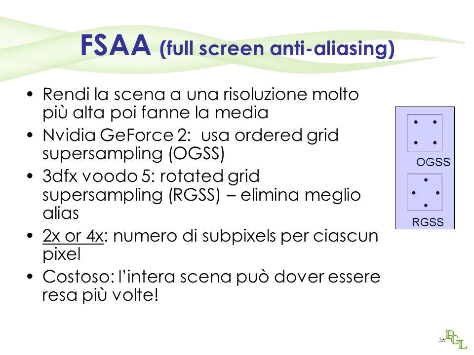 35 FSAA (full screen anti-aliasing) Rendi la scena a una risoluzione molto più alta poi fanne la media Nvidia GeForce 2: usa ordered grid supersamplin