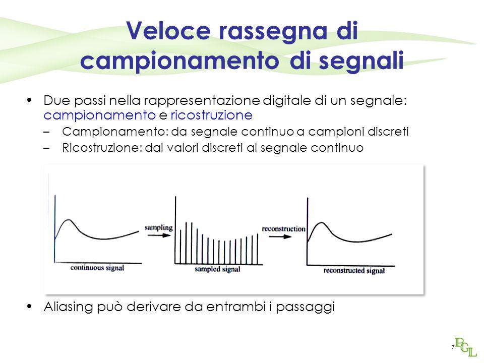 7 Veloce rassegna di campionamento di segnali Due passi nella rappresentazione digitale di un segnale: campionamento e ricostruzione –Campionamento: d