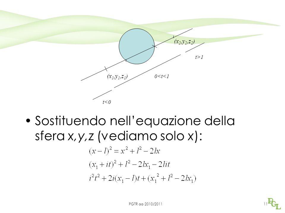 Sostituendo nell'equazione della sfera x,y,z (vediamo solo x): 11 (x 1,y 1,z 1 ) (x 2,y 2,z 2 ) 0<t<1 t<0 t>1 PGTR aa 2010/2011