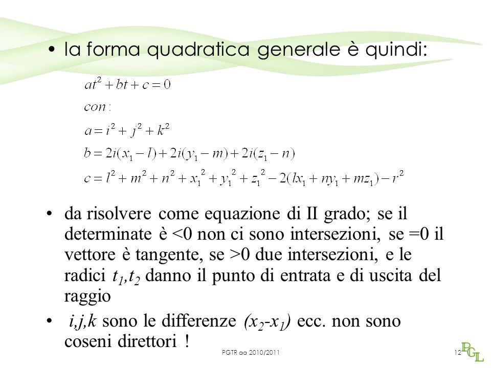 la forma quadratica generale è quindi: 12 da risolvere come equazione di II grado; se il determinate è 0 due intersezioni, e le radici t 1,t 2 danno il punto di entrata e di uscita del raggio i,j,k sono le differenze (x 2 -x 1 ) ecc.