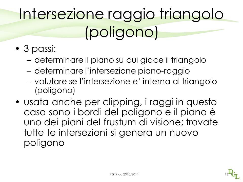 Intersezione raggio triangolo (poligono) 3 passi: –determinare il piano su cui giace il triangolo –determinare l'intersezione piano-raggio –valutare s
