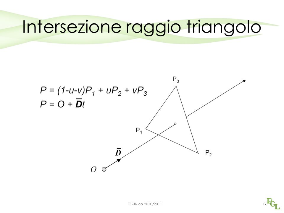 Intersezione raggio triangolo 17PGTR aa 2010/2011