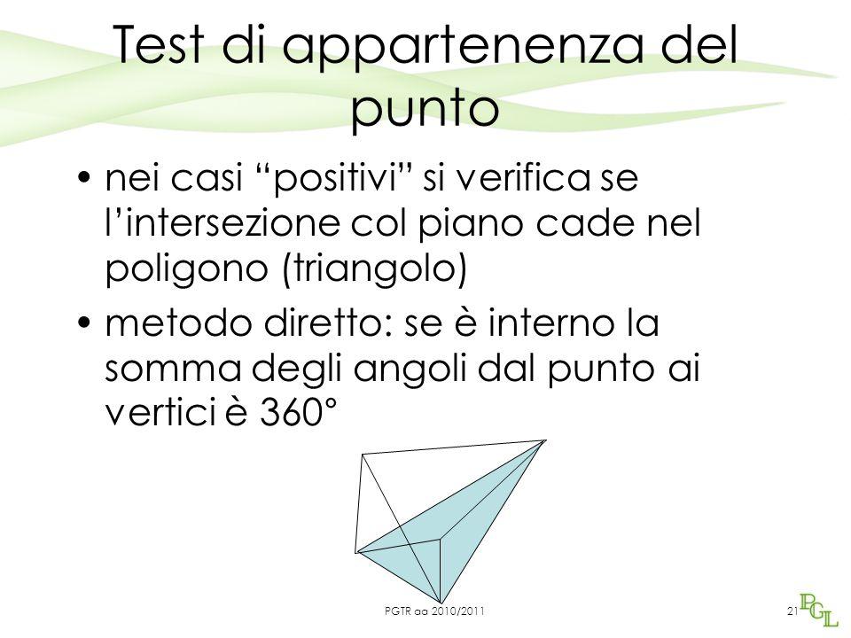 Test di appartenenza del punto nei casi positivi si verifica se l'intersezione col piano cade nel poligono (triangolo) metodo diretto: se è interno la somma degli angoli dal punto ai vertici è 360° 21PGTR aa 2010/2011