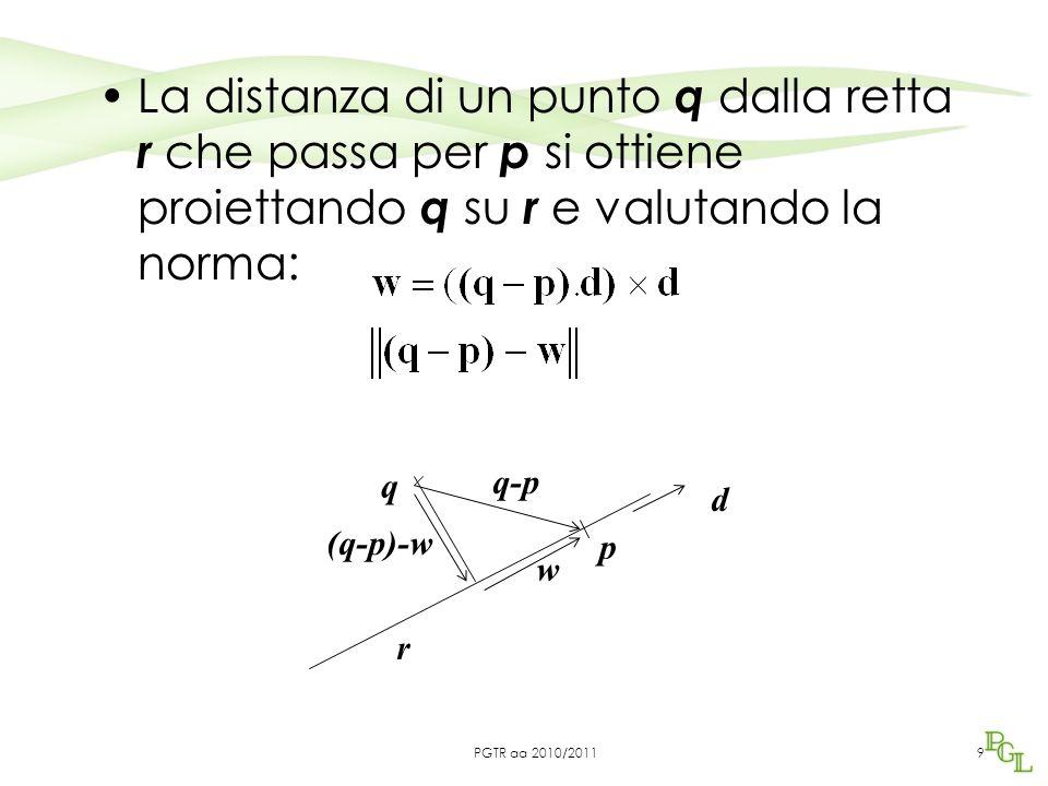 La distanza di un punto q dalla retta r che passa per p si ottiene proiettando q su r e valutando la norma: 9 r q p d q-p w (q-p)-w PGTR aa 2010/2011