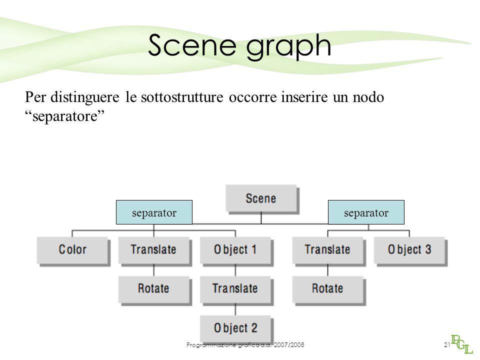"""Scene graph Per distinguere le sottostrutture occorre inserire un nodo """"separatore"""" separator 21Programmazione grafica a.a. 2007/2008"""