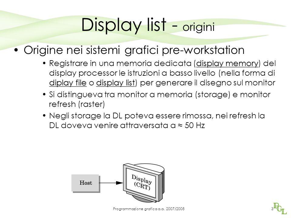Display list - origini Origine nei sistemi grafici pre-workstation display memory diplay filedisplay listRegistrare in una memoria dedicata (display m