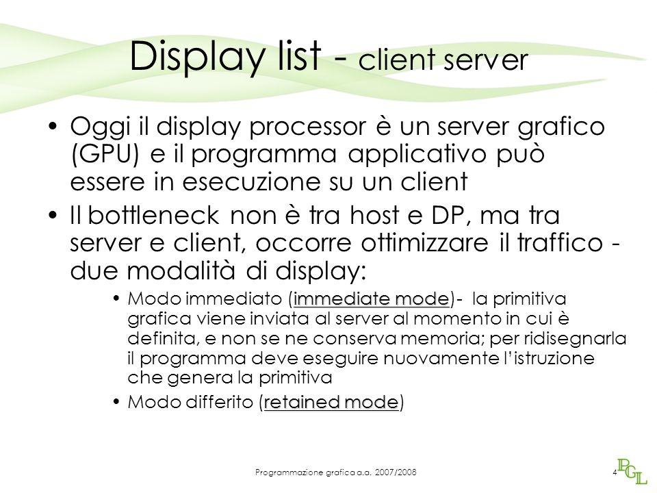 Display list - client server Oggi il display processor è un server grafico (GPU) e il programma applicativo può essere in esecuzione su un client Il b