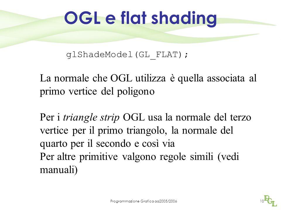 Programmazione Grafica aa2005/200610 OGL e flat shading glShadeModel(GL_FLAT); La normale che OGL utilizza è quella associata al primo vertice del poligono Per i triangle strip OGL usa la normale del terzo vertice per il primo triangolo, la normale del quarto per il secondo e così via Per altre primitive valgono regole simili (vedi manuali)
