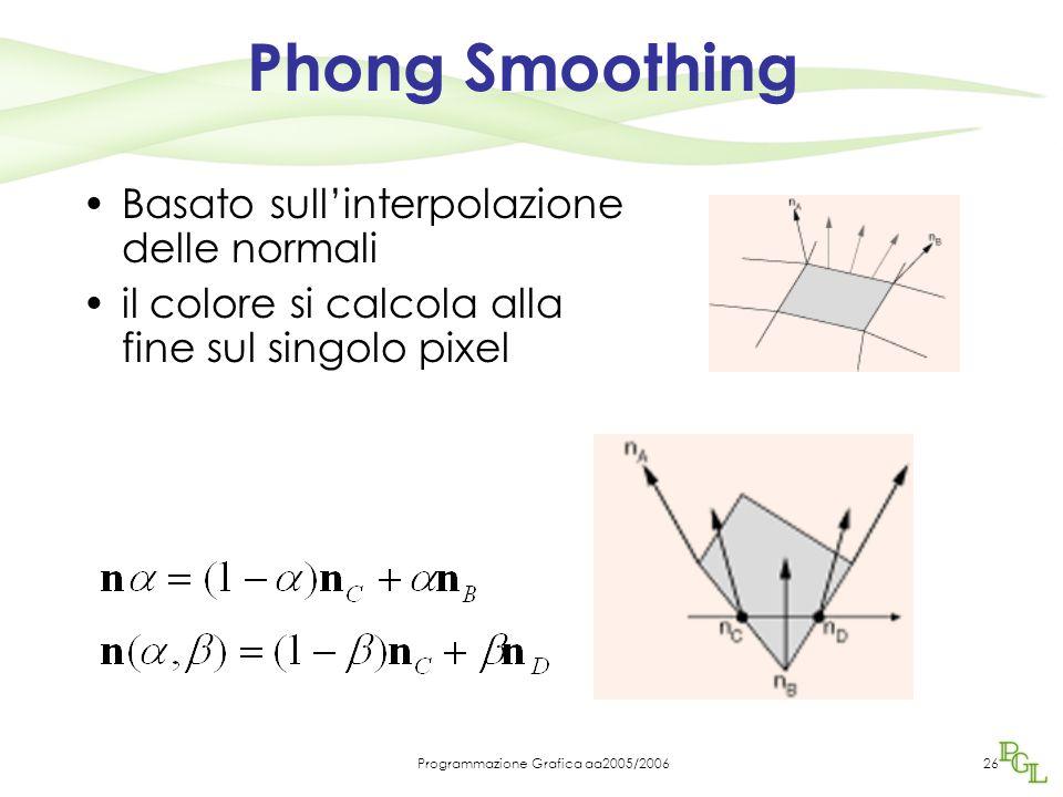 Programmazione Grafica aa2005/200626 Phong Smoothing Basato sull'interpolazione delle normali il colore si calcola alla fine sul singolo pixel