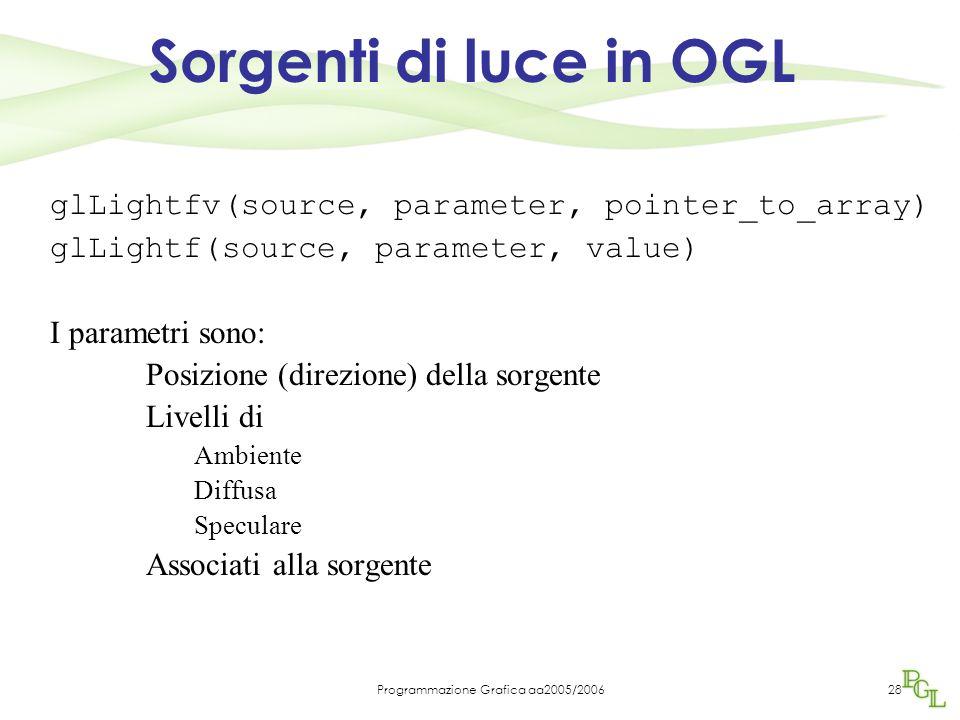 Programmazione Grafica aa2005/200628 Sorgenti di luce in OGL glLightfv(source, parameter, pointer_to_array) glLightf(source, parameter, value) I parametri sono: Posizione (direzione) della sorgente Livelli di Ambiente Diffusa Speculare Associati alla sorgente