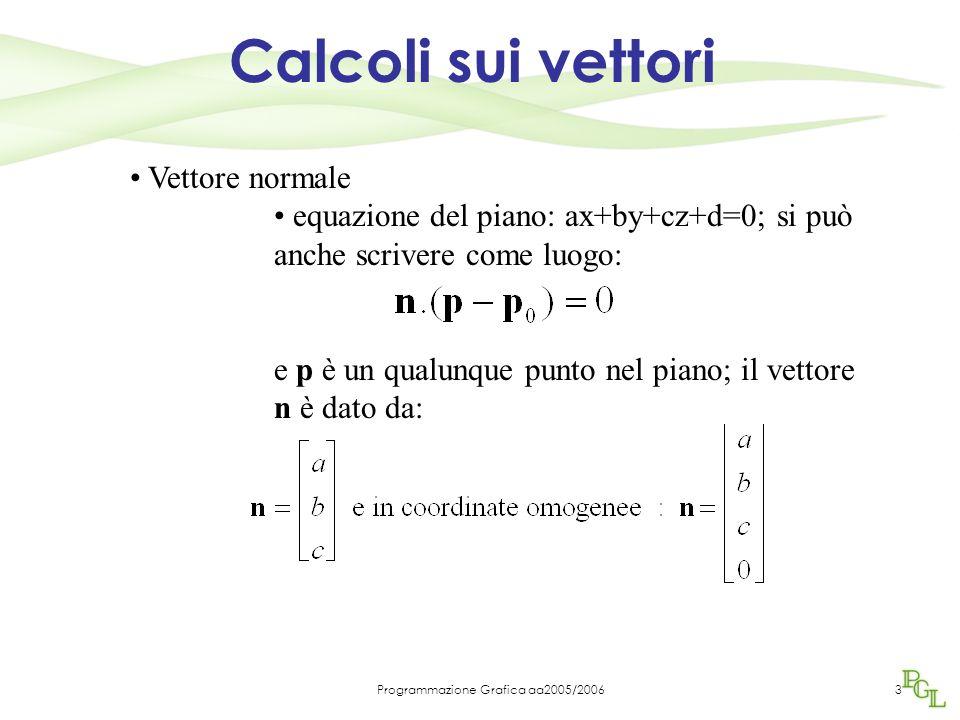 Programmazione Grafica aa2005/20063 Calcoli sui vettori Vettore normale equazione del piano: ax+by+cz+d=0; si può anche scrivere come luogo: e p è un qualunque punto nel piano; il vettore n è dato da: