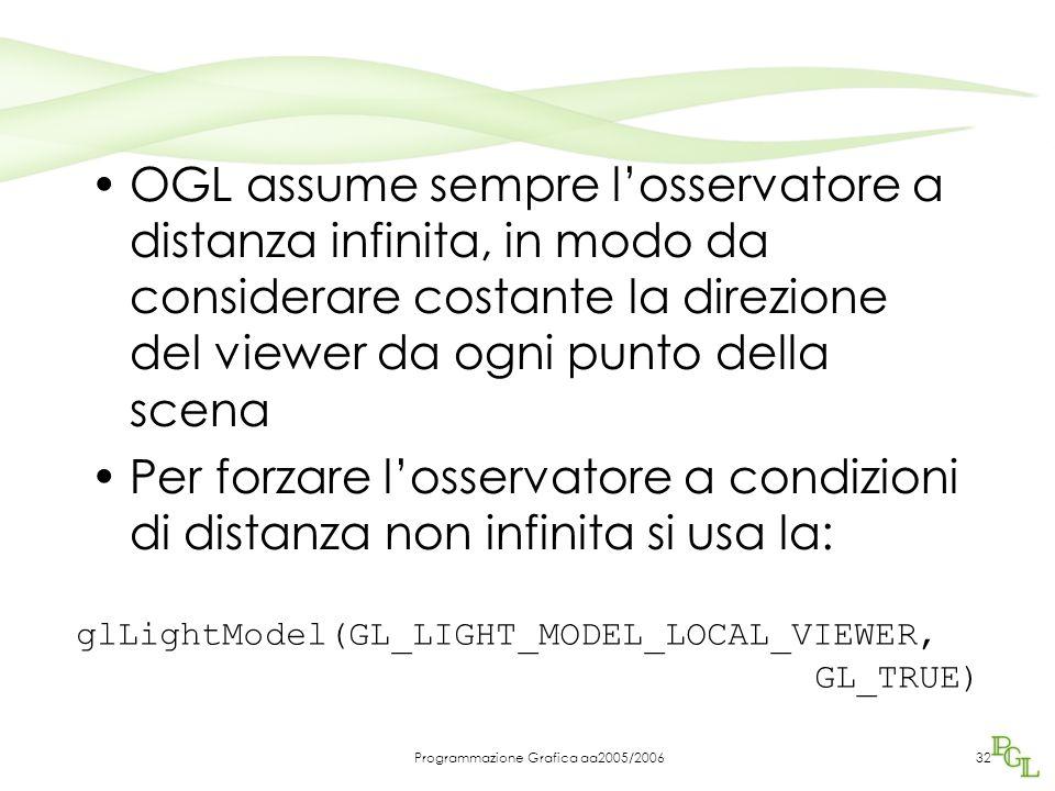 Programmazione Grafica aa2005/200632 OGL assume sempre l'osservatore a distanza infinita, in modo da considerare costante la direzione del viewer da ogni punto della scena Per forzare l'osservatore a condizioni di distanza non infinita si usa la: glLightModel(GL_LIGHT_MODEL_LOCAL_VIEWER, GL_TRUE)