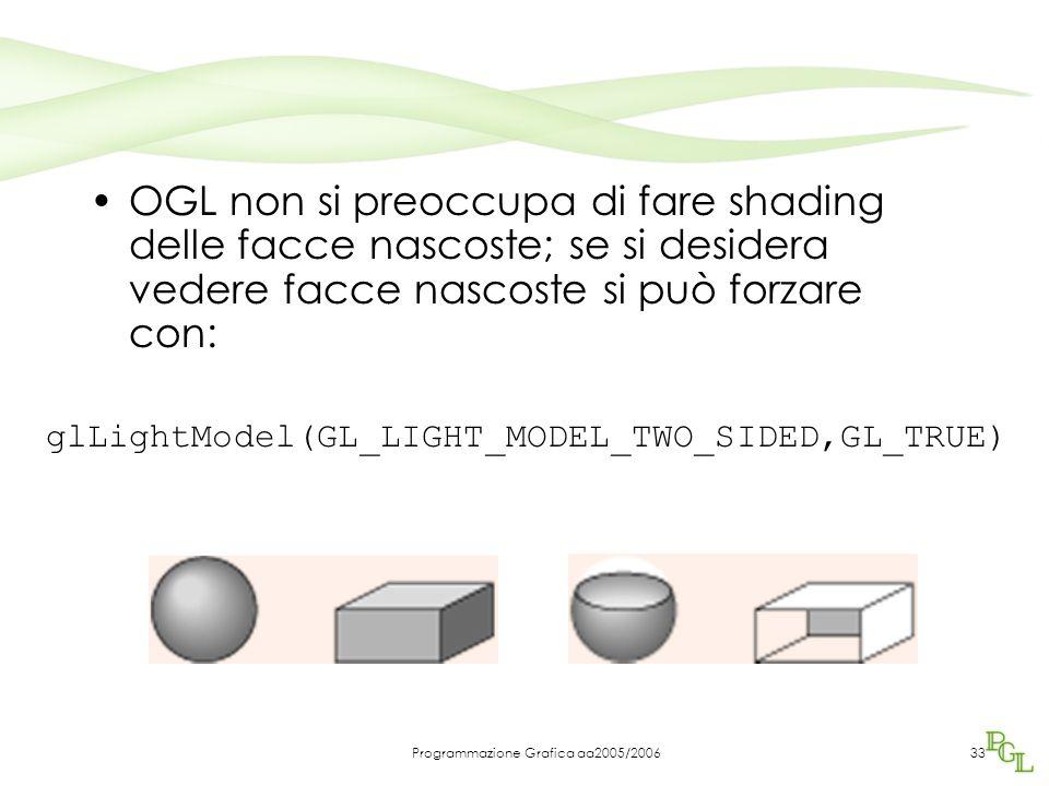 Programmazione Grafica aa2005/200633 OGL non si preoccupa di fare shading delle facce nascoste; se si desidera vedere facce nascoste si può forzare con: glLightModel(GL_LIGHT_MODEL_TWO_SIDED,GL_TRUE)