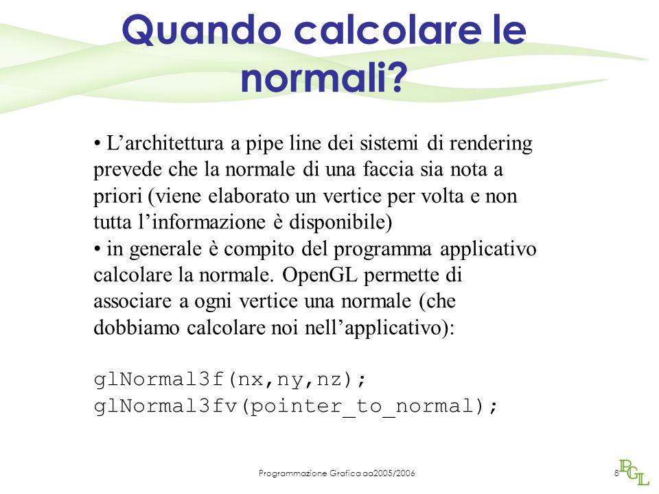 Programmazione Grafica aa2005/200629 GLFloat light0_pos[]={1.0, 2.0, 3.0, 1.0} Se si pone quarta componente a 0 la sorgente è all'infinito e definita come direzione GLFloat light0_dir[]={1.0, 2.0, 3.0, 0.0} GLFloat diffuse0[]={1.0, 0.0, 0.0, 1.0} GLFloat ambient0[]={1.0, 0.0, 0.0, 1.0} GLFloat specular0[]={1.0, 0.0, 0.0, 1.0} Sorgente bianca con componenti di tutti e tre i tipi: