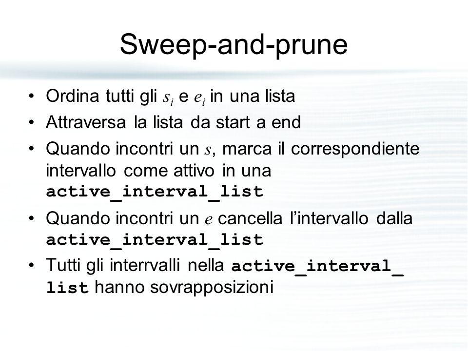 Sweep-and-prune Ordina tutti gli s i e e i in una lista Attraversa la lista da start a end Quando incontri un s, marca il correspondiente intervallo come attivo in una active_interval_list Quando incontri un e cancella l'intervallo dalla active_interval_list Tutti gli interrvalli nella active_interval_ list hanno sovrapposizioni