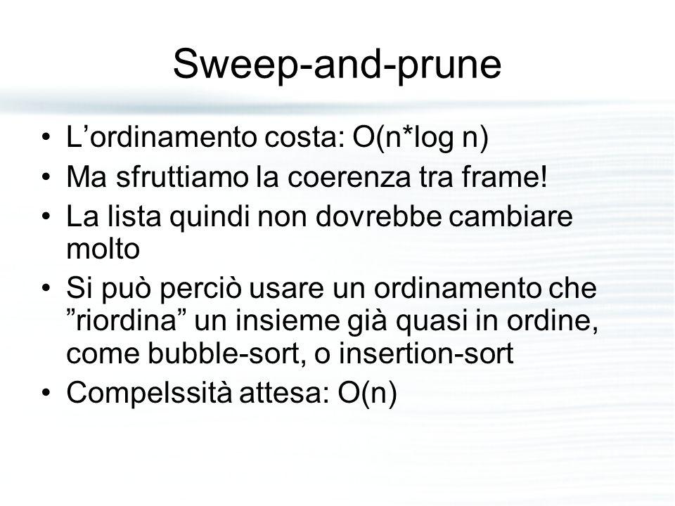 Sweep-and-prune L'ordinamento costa: O(n*log n) Ma sfruttiamo la coerenza tra frame! La lista quindi non dovrebbe cambiare molto Si può perciò usare u