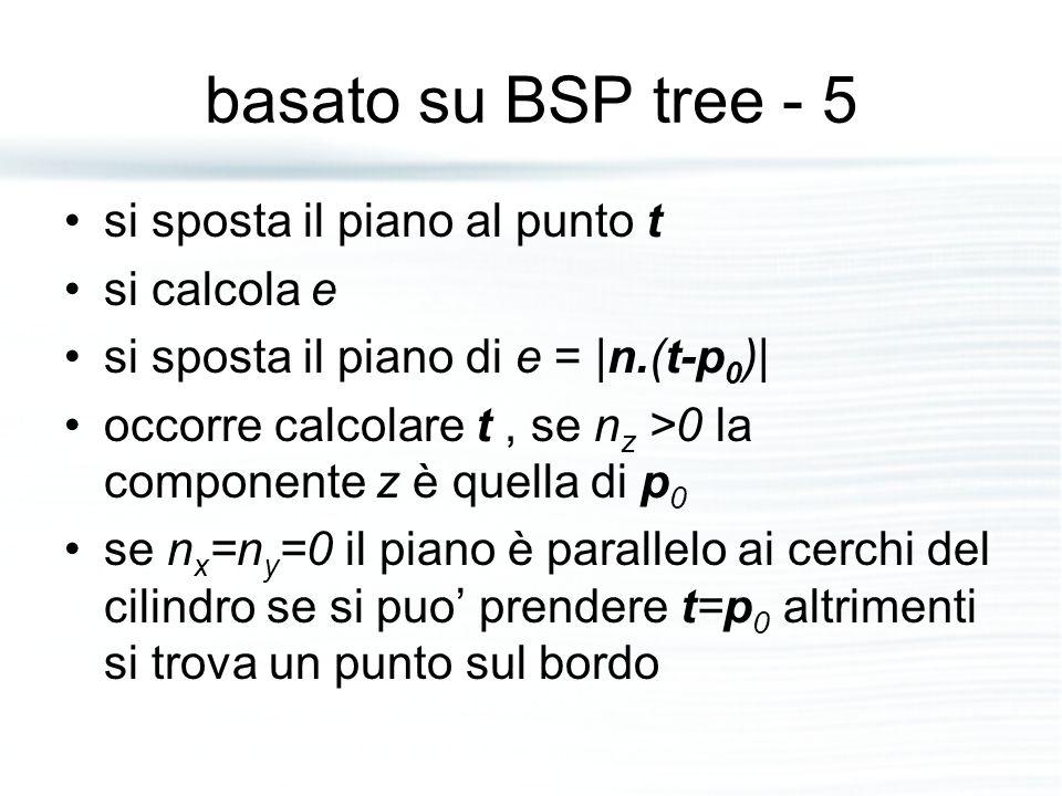 basato su BSP tree - 5 si sposta il piano al punto t si calcola e si sposta il piano di e = |n.(t-p 0 )| occorre calcolare t, se n z >0 la componente z è quella di p 0 se n x =n y =0 il piano è parallelo ai cerchi del cilindro se si puo' prendere t=p 0 altrimenti si trova un punto sul bordo