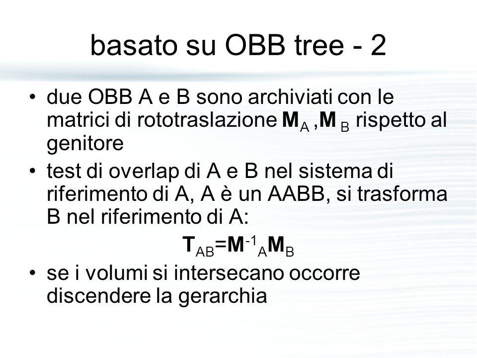 basato su OBB tree - 2 due OBB A e B sono archiviati con le matrici di rototraslazione M A,M B rispetto al genitore test di overlap di A e B nel sistema di riferimento di A, A è un AABB, si trasforma B nel riferimento di A: T AB =M -1 A M B se i volumi si intersecano occorre discendere la gerarchia