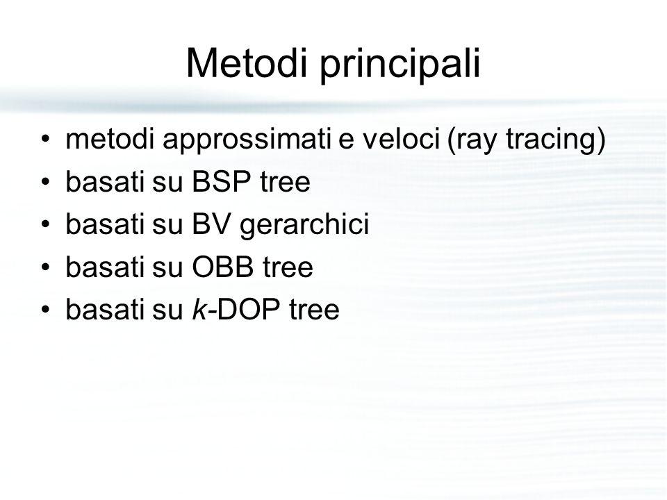Metodi principali metodi approssimati e veloci (ray tracing) basati su BSP tree basati su BV gerarchici basati su OBB tree basati su k-DOP tree