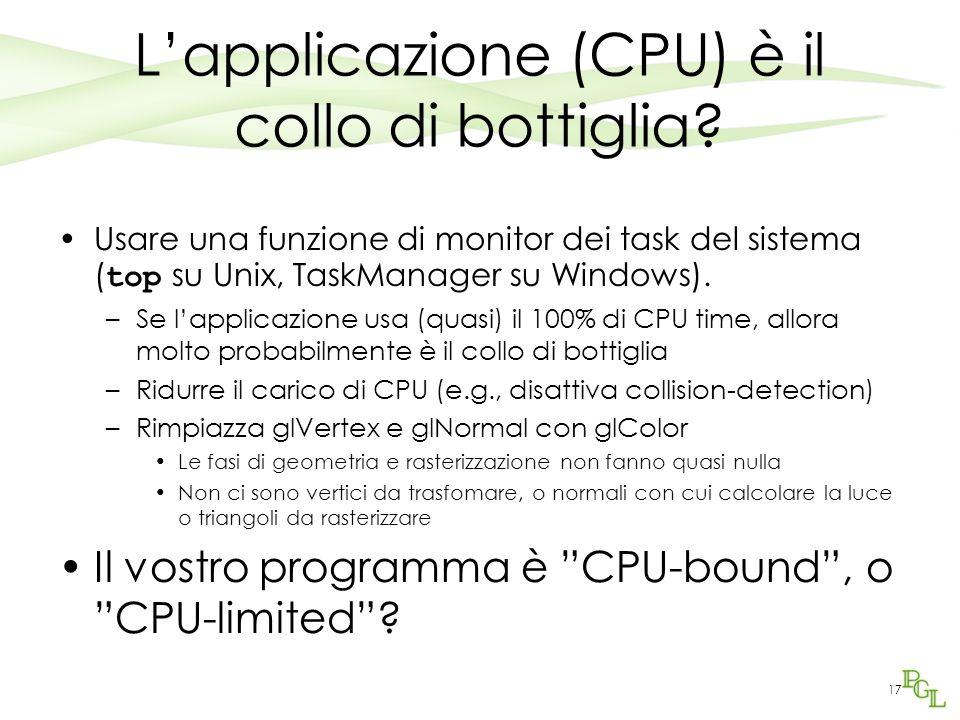 L'applicazione (CPU) è il collo di bottiglia? Usare una funzione di monitor dei task del sistema ( top su Unix, TaskManager su Windows). –Se l'applica