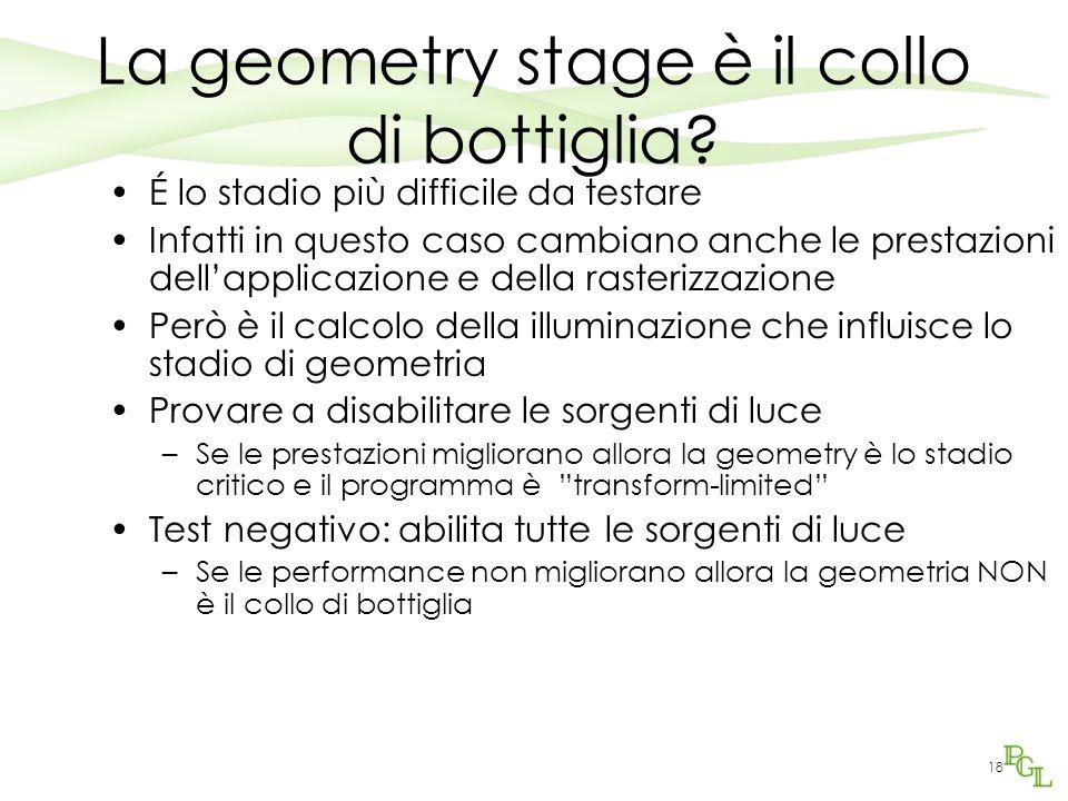 La geometry stage è il collo di bottiglia? É lo stadio più difficile da testare Infatti in questo caso cambiano anche le prestazioni dell'applicazione