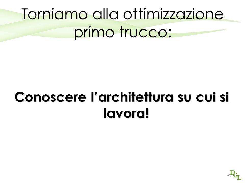 Torniamo alla ottimizzazione primo trucco: Conoscere l'architettura su cui si lavora! 20