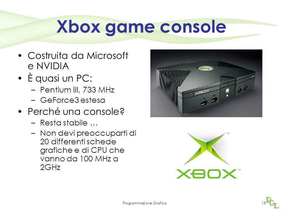 Programmazione Grafica15 Xbox game console Costruita da Microsoft e NVIDIA È quasi un PC: –Pentium III, 733 MHz –GeForce3 estesa Perché una console.