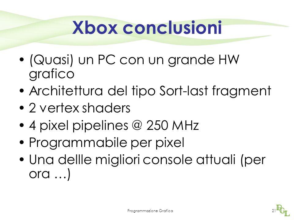 Programmazione Grafica21 Xbox conclusioni (Quasi) un PC con un grande HW grafico Architettura del tipo Sort-last fragment 2 vertex shaders 4 pixel pipelines @ 250 MHz Programmabile per pixel Una dellle migliori console attuali (per ora …)