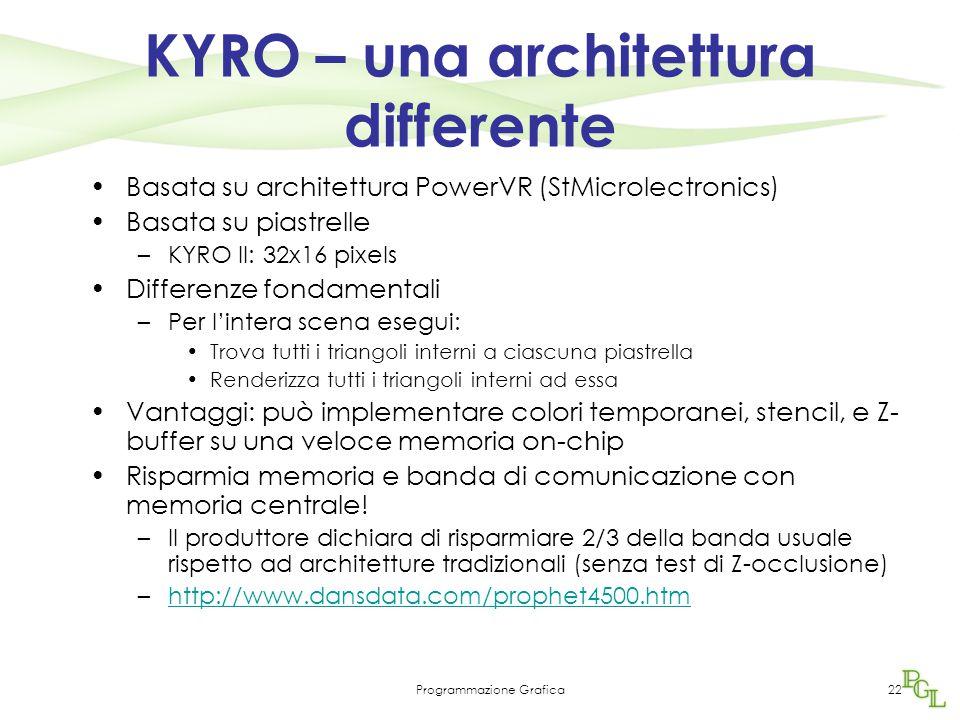 Programmazione Grafica22 KYRO – una architettura differente Basata su architettura PowerVR (StMicrolectronics) Basata su piastrelle –KYRO II: 32x16 pixels Differenze fondamentali –Per l'intera scena esegui: Trova tutti i triangoli interni a ciascuna piastrella Renderizza tutti i triangoli interni ad essa Vantaggi: può implementare colori temporanei, stencil, e Z- buffer su una veloce memoria on-chip Risparmia memoria e banda di comunicazione con memoria centrale.