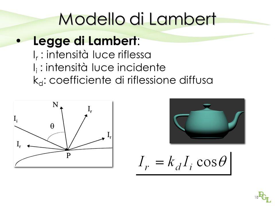 17 Riflessione di Lambert Una superficie viene detta diffusiva o lambertiana se rispetta la legge di Lambert (1760) La legge afferma che la luminosità di una superficie diffusiva non dipende dalla posizione dell'osservatore ma dalla posizione della luce rispetto a questa La luce viene riflessa uniformemente in tutte le direzioni