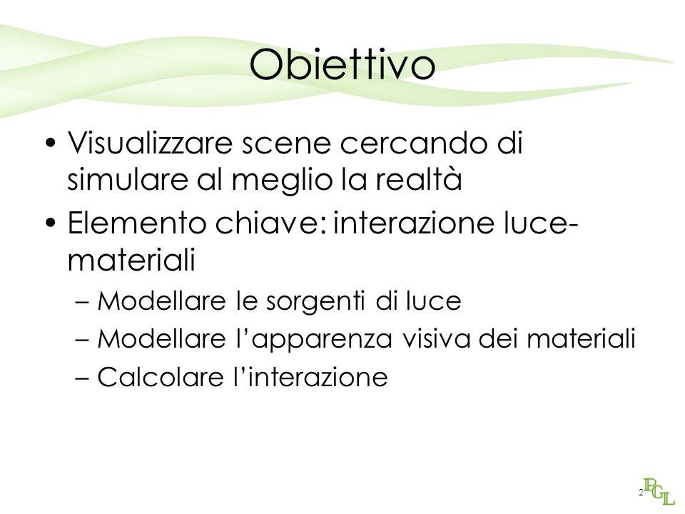 2 Obiettivo Visualizzare scene cercando di simulare al meglio la realtà Elemento chiave: interazione luce- materiali –Modellare le sorgenti di luce –Modellare l'apparenza visiva dei materiali –Calcolare l'interazione