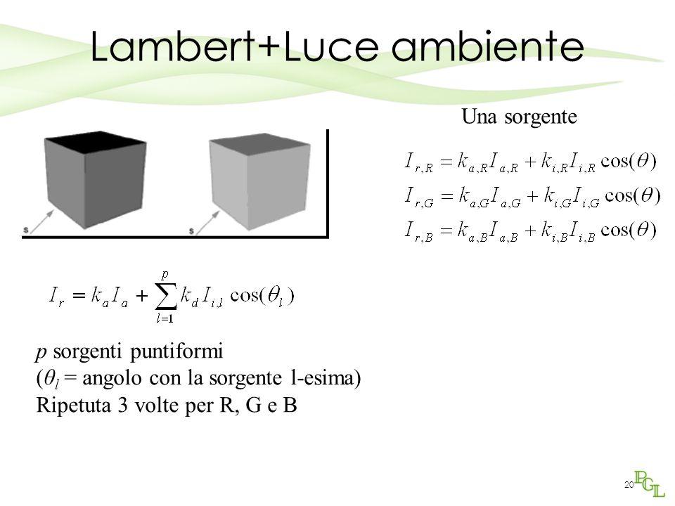 19 Calcolo RGB del modello di Lambert Il colore della superficie dipende quindi dai tre valori (k d,R k d,G k d,B )