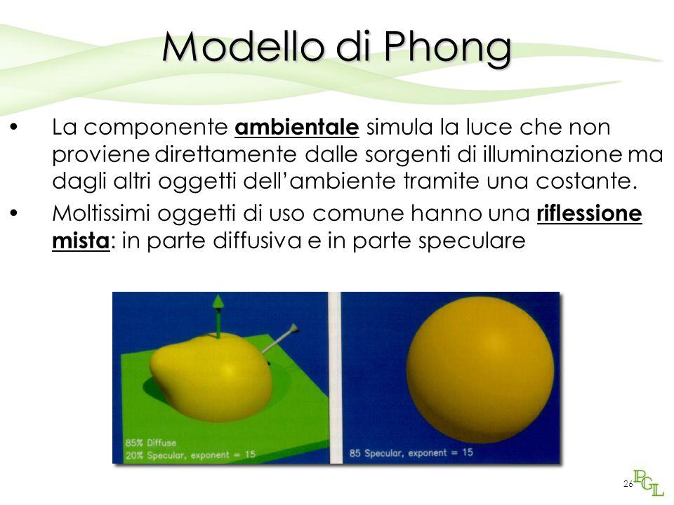 25 Modello di Phong Nella componente speculare imp.: –L'angolo  misura quanto l'osservatore si discosta dalla direzione speculare rispetto alla luce –L'esponente di Phong n determina l'ampiezza dell' highlight (maggiore n, minore l'highlight)