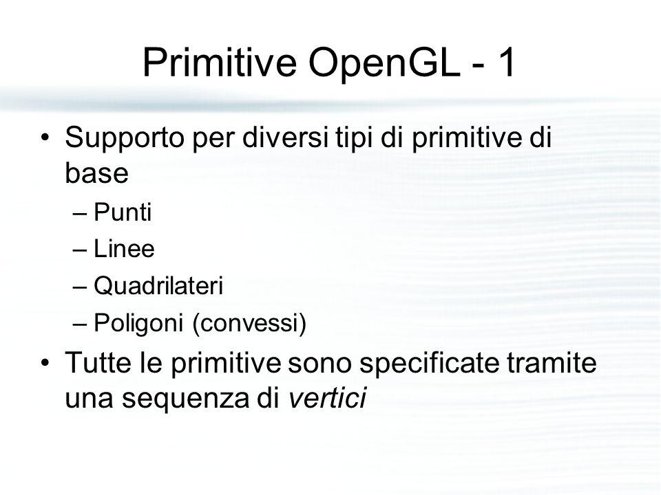 Primitive OpenGL - 1 Supporto per diversi tipi di primitive di base –Punti –Linee –Quadrilateri –Poligoni (convessi) Tutte le primitive sono specifica