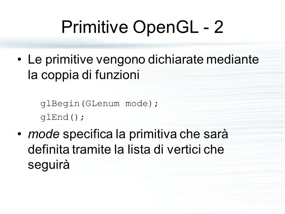 Primitive OpenGL - 2 Le primitive vengono dichiarate mediante la coppia di funzioni glBegin(GLenum mode); glEnd(); mode specifica la primitiva che sar