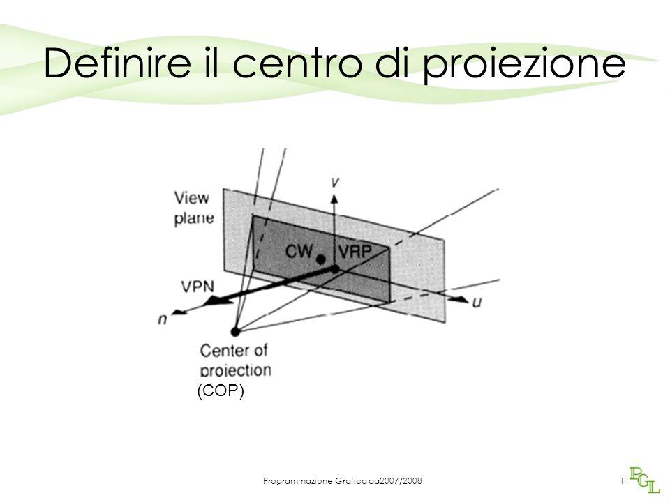 Programmazione Grafica aa2007/200811 Definire il centro di proiezione (COP)