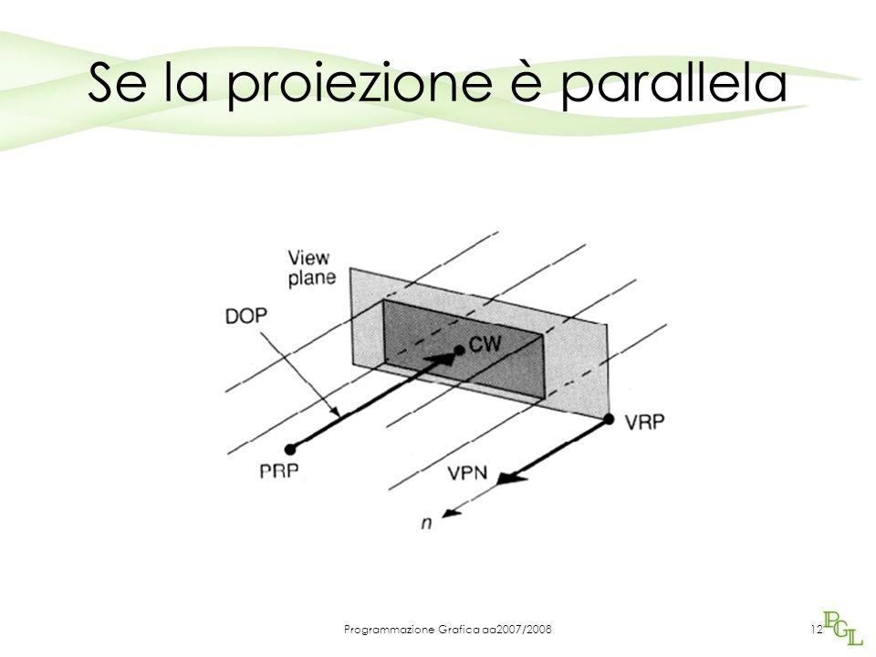 Programmazione Grafica aa2007/200812 Se la proiezione è parallela