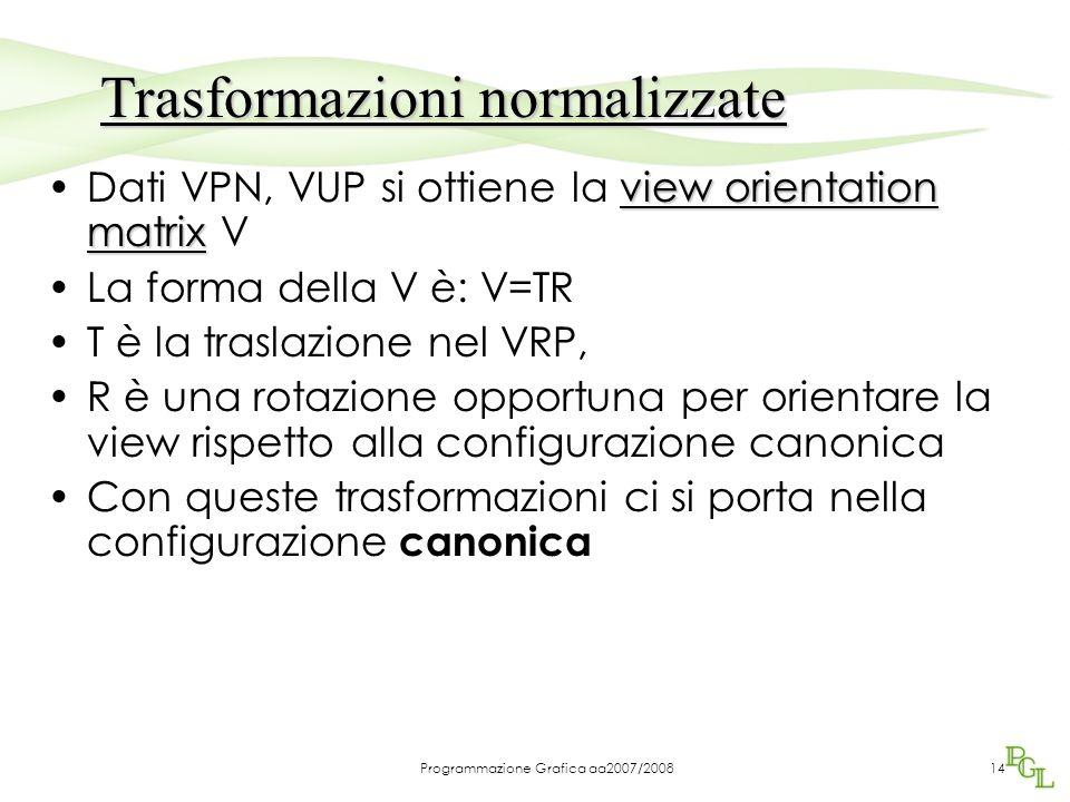 Programmazione Grafica aa2007/200814 view orientation matrixDati VPN, VUP si ottiene la view orientation matrix V La forma della V è: V=TR T è la tras