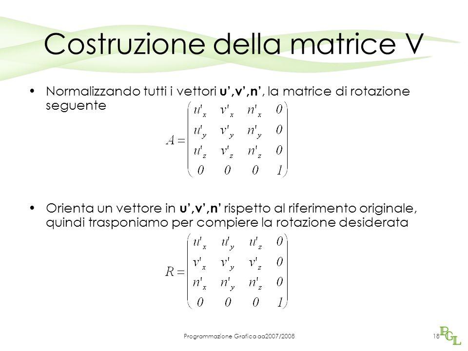 Programmazione Grafica aa2007/200818 Costruzione della matrice V Normalizzando tutti i vettori u',v',n', la matrice di rotazione seguente Orienta un v